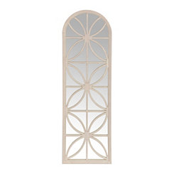White Distressed Butterfly Windowpane Wall Mirror