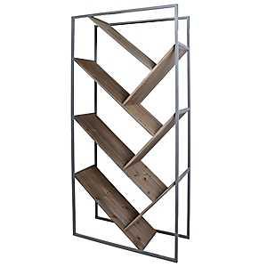 Diagonal Graywashed Wood and Metal Bookcase