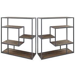 Graywashed Wood and Metal Bookcases, Set of 2