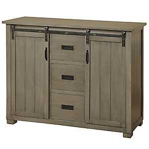 Sliding Barn Door Graywashed Pine Cabinet