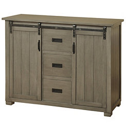 Sliding Barn Door Graywashed Pine Cabinet