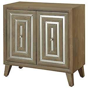 Gray Driftwood Geometric 2-Door Cabinet