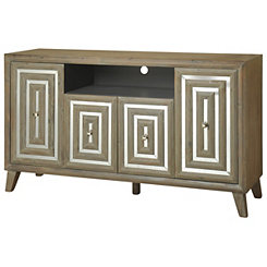 Gray Driftwood Geometric Media Console
