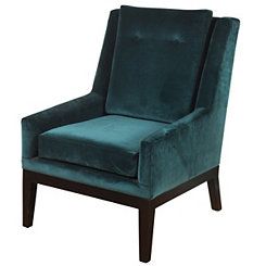 Teal Blue Velvet Mid-Century Modern Accent Chair