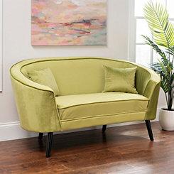 Lime Green Velvet Settee