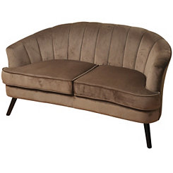 Latte Brown Velvet Channel Back Settee