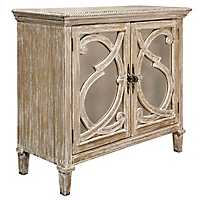 Nappa Antique Mirrored 2-Door Natural Wood Cabinet