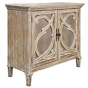 Nappa Antique Mirrored 2-Door Natural Wood Cabinet