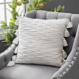Ivory Cotton Knots Pillow with Tassels