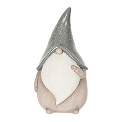 Terracotta Tomte Gnome with Long Gray Hat