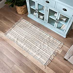 Blue Striped Accent Rug with Fringe Border