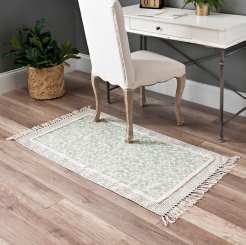 Green Printed Accent Rug with Fringe Border
