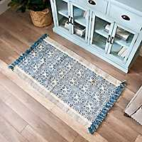 Blue Tufted Cotton Accent Rug