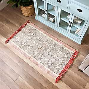 Coral Tufted Cotton Accent Rug