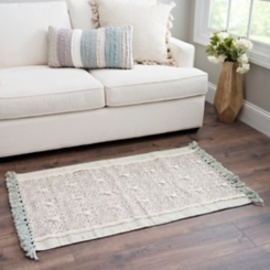 Green Tufted Cotton Accent Rug