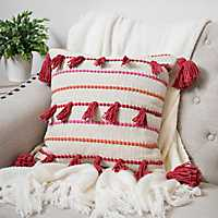 Orange Cotton Knot Fringe Pillow