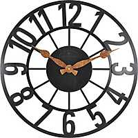 Manchester Open Back Industrial Black Wall Clock