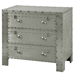 Riveted Industrial Aluminum 3-Drawer Chest