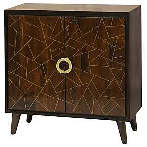 Geometric Patterned Mango Wood 2-Door Cabinet