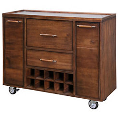 Cherry Wood Mobile Bar Cabinet