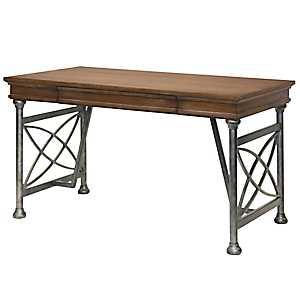 Natural Wood and Pewter Metal Desk
