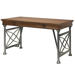 Natural Wood and Pewter Metal Desk