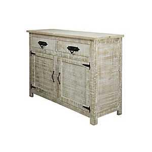Distressed White Wash Mango Wood Sideboard Cabinet