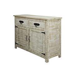 Distressed White Wash Mango Wood Sideboard Cabinet