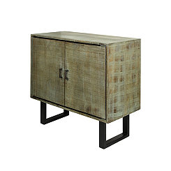 Hailey Distressed Gray Mango Wood Cabinet