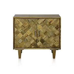 Checkered Solid Mango Wood 2-Door Cabinet