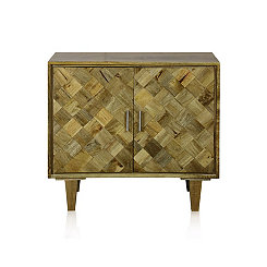 Checkered Solid Mango Wood 2-Door Cabinet