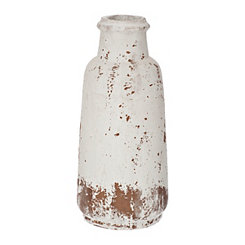 Distressed White Ceramic Vase, 15 in.