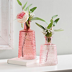 Pink Textured Glass Vases, Set of 2