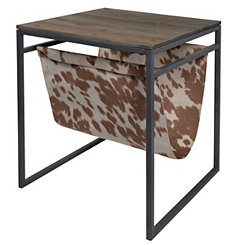 Wood Top Table with Faux Cowhide Magazine Rack
