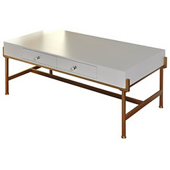 White Lacquer and Antique Gold Coffee Table