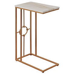 Gold Metal Marble Top C-Table