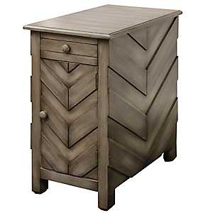 Chevron Accent Table with Charging Station