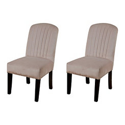 Blush Velvet Channel Back Parsons Chairs, Set of 2