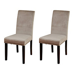 Dusty Rose Velvet Parsons Chairs, Set of 2