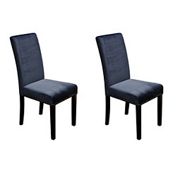 Dark Blue Velvet Parsons Chairs, Set of 2