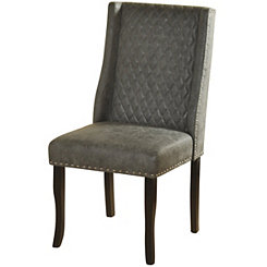 Gray Faux Leather Wingback Dining Chairs, Set of 2
