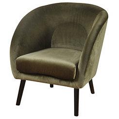 Olive Green Velvet Sloped Arm Chair