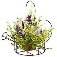 Lavender Arrangement in Iron Wire Kettle