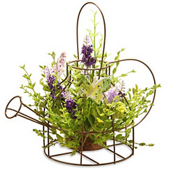 Lavender Arrangement in Iron Wire Kettle