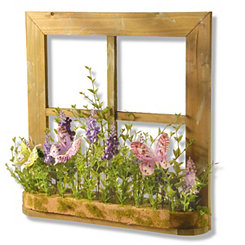 Hanging Window Frame with Mixed Lavender Flowers