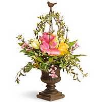 Spring Floral Arrangement in Bronze Urn, 25 in.