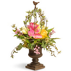 Spring Floral Arrangement in Bronze Urn, 25 in.