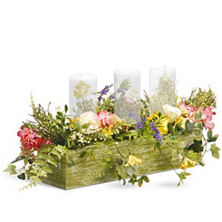 Mixed Floral Wood Box Centerpiece