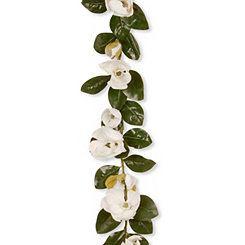 Cream Magnolia with Green Leaves Garland