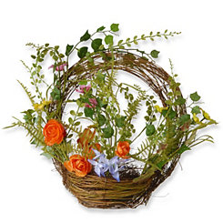 Floral and Fern Woven Basket Wreath
